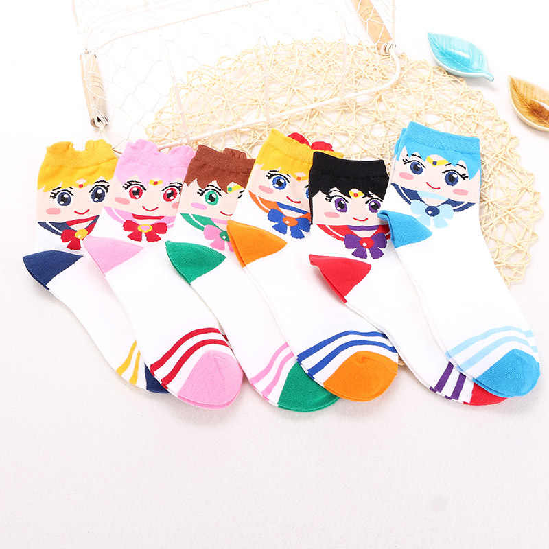 New Cartoon Sailor Moon Cosplay Accessories Tsukino Usagi Women Girls Ankle Socks Kawaii Cotton Sock Stockings Christmas Gifts