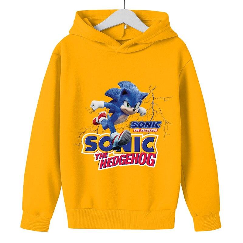 Baby Pullover 5 To 14 Year Kids Hoodies Sonic The Hedgehog Print Sweatshirt Boys Girls Harajuku Long Sleeve Teen Clothes winter 6