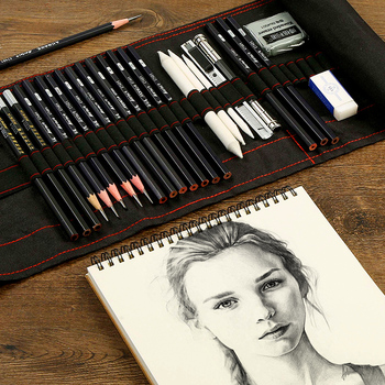 Sketch pencil set charcoal full set of student entry tools painting professional beginner drawing art supplies new hot authentic sketch drawing charcoal pencil eraser tool kit beginner art supplies arts sets