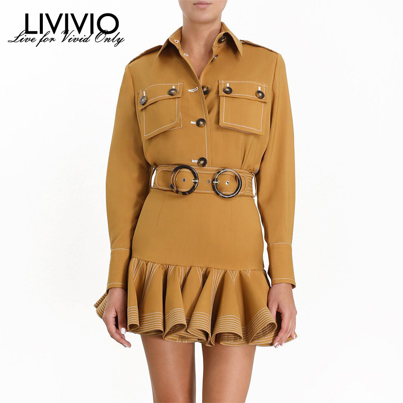 [LIVIVIO] Two Piece Matching Sets Long Sleeve Single Breasted Jacket Tops Women Belt Ruffle Mini Skirt Female Autumn Fashion
