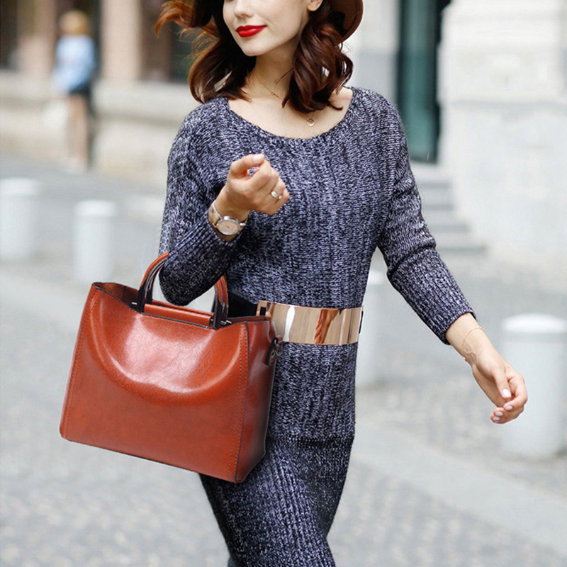 Image 2 - Women Vintage Leather Handbags For Woman Shoulder bag Designer  High Quality Messenger Crossbody Bags 2019 Ladies Luxury Hand  bagShoulder Bags