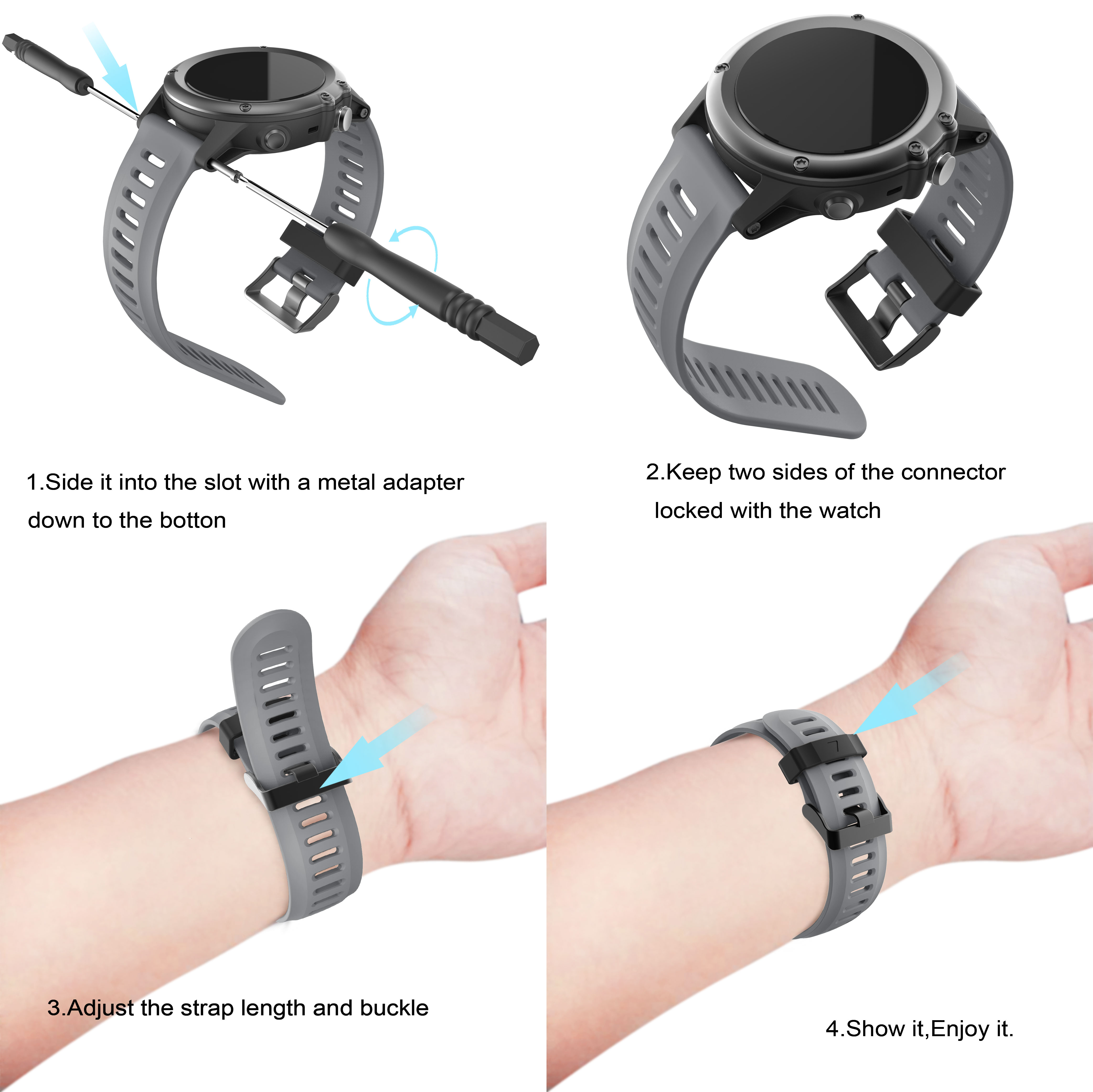 Image 5 - Yayuu Soft Silicone Replacement Watch Band with Tools for Garmin Fenix 3/Fenix 3 HR/Fenix 5X/5X Plus/D2 Delta PX/Descent MK1-in Smart Accessories from Consumer Electronics