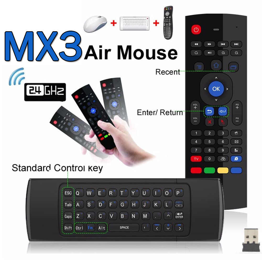 MX3 MX3-L Backlit Air Mouse T3 Smart Afstandsbediening 2.4G Rf Draadloze Toetsenbord Voor X96 Mini KM9 A95X H96 max Android Tv Box