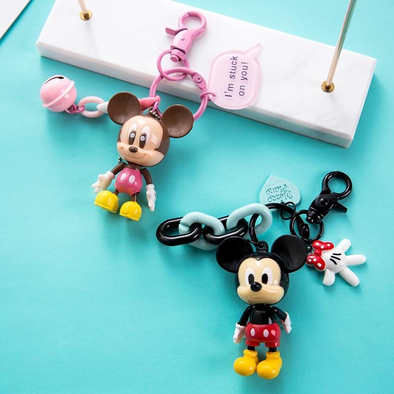 2019 New Fashion  Keychain Cartoon Mickey Minnie Anime Figurine Keyring Kid Toy Key Chain Key Holder Fashion Trinket Gift Bags