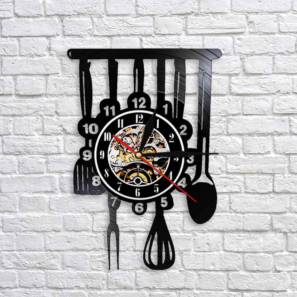 Cutlery Farmhouse Kitchen Art Sign Wall Clock Dinning Room Restaurant Cutlery Wall Decor Vintage Utensil Vinyl Record Wall Clock Wall Clocks Aliexpress