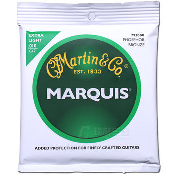 MartinGuitar M2000 Acoustic Marquis 92/8 Phosphor Bronze Guitar Strings, Extra Light, 010-047 image