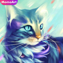 MomoArt Diamond Embroidery Cat Diamond Painting Full Square Drill Picture Of Rhinestone Mosaic Animal Decoration Home momoart diamond embroidery cat cartoon full drill diamond painting square diy diamond mosaic animal home decoration