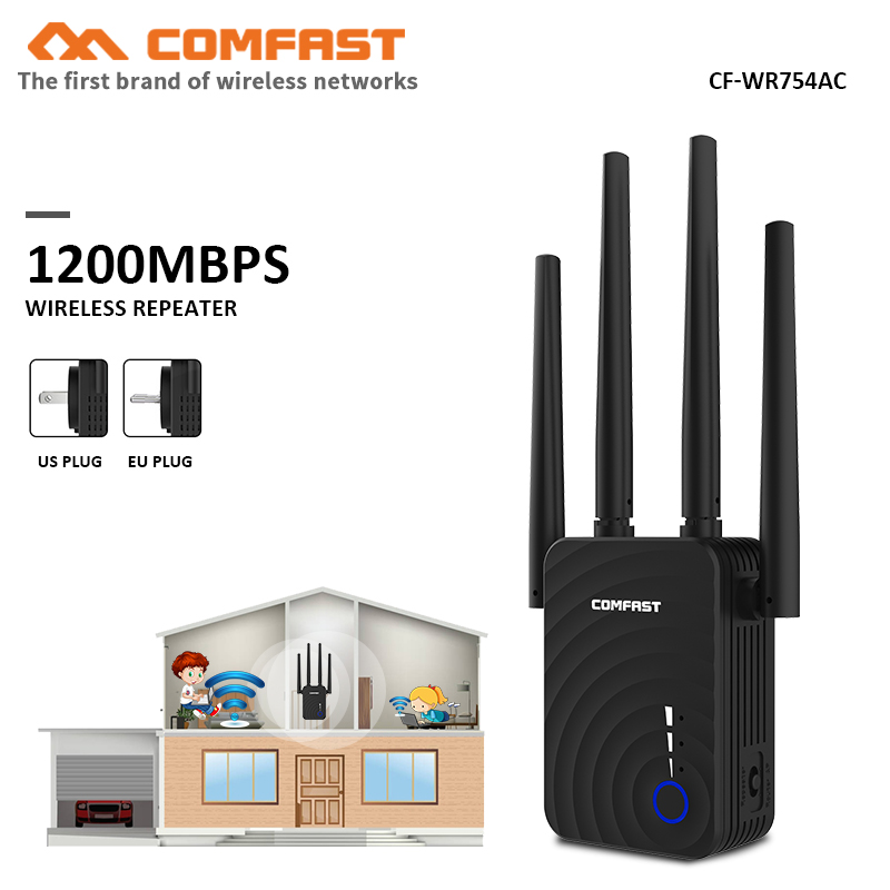 Comfast CF-WR754AC 1200Mbps Home Wireless N Router Wifi Repeater 5Ghz Long Wi Fi Range Extender Booster With 4*2dbi Antenna Wifi