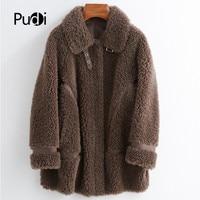 PUDI women winter real wool fur coat jacket female girl sheep shearing coats lady Long jacket over size parkas CT025