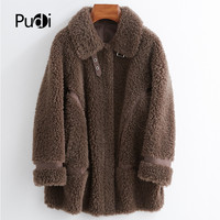 PUDI women winter real wool fur coat jacket female girl sheep shearing coats lady Long jacket over size parkas CT025