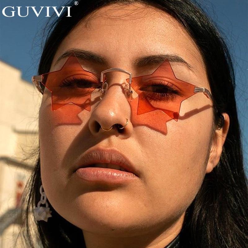 Steampunk Vintage Sunglasses Women Star Mirror Rimless Sunglasses Men Frameless Trend Fashion Retro Small Sunglasses Eyewear