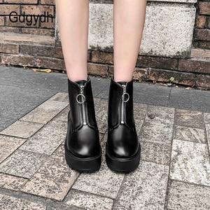 Image 5 - Gdgydh Fashion Zipper Block Heel Boots Women Platform Shoes Short Boots Woman Autumn Leather Black Gothic Style High Quality