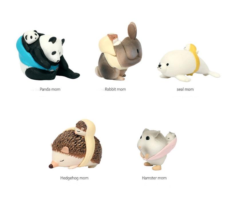 Мама и ребенок Панда Кролик печать Ежик хомяк/миниатюры/милые животные/Сказочный Садовый Гном/искусственная кожа/модель игрушка/фигурка