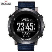 Мужские спортивные цифровые часы North Edge, водонепроницаемые часы 50 м с GPS, метеометром, барометром, компасом, пульсометром, походными часами