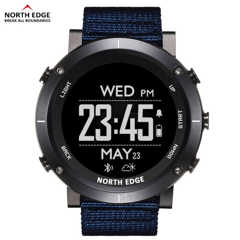 North Edge relojes digitales deportivos para hombres a prueba de agua 50M Reloj GPS altímetro barómetro brújula ritmo cardíaco reloj para excursión