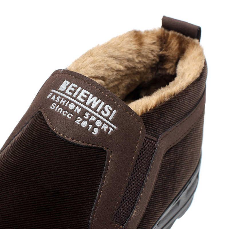 Männer der Schuhe Verdicken faux wildleder winter warme pelz gefüttert slip auf casual Keine-slip schnee stiefeletten neue plus größe