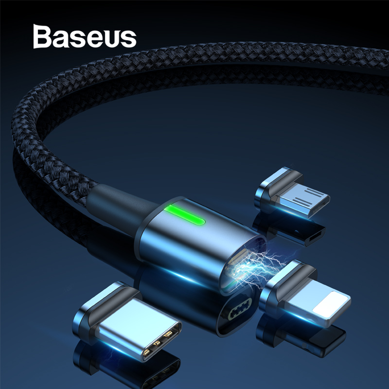 Baseus Magnetic Charge USB Cable for iPhone XR Xs Max Fast Charger Samsung S10 Huawei P30 USB Type C Cable LED Micro USB Cable-in Mobile Phone Cables from Cellphones & Telecommunications on AliExpress