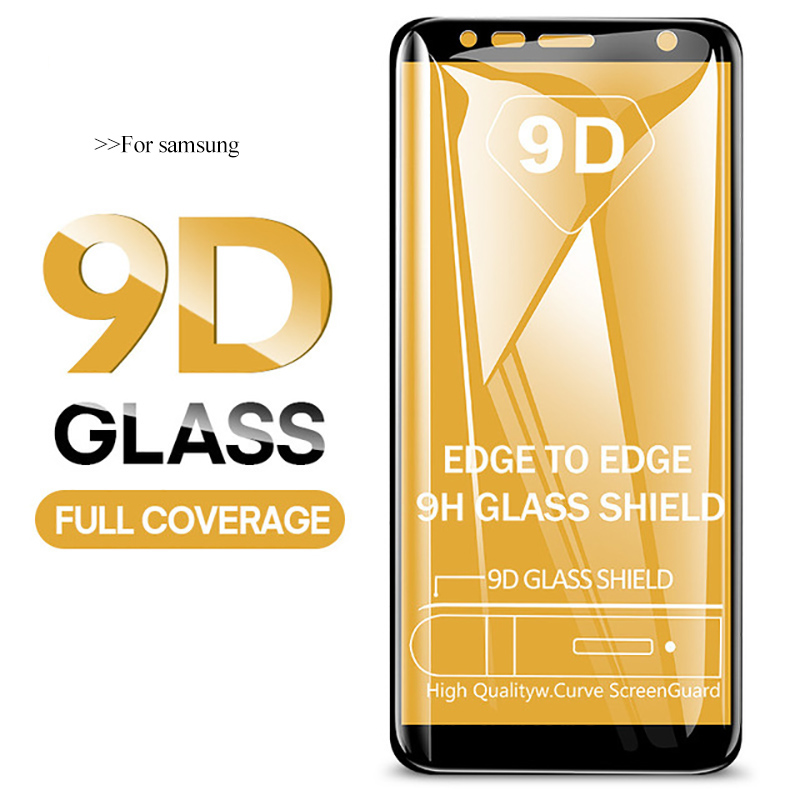 9D Screen Protector For Samsung Galaxy A7 2018 A6 A8 Plus 2018 A 7 8 9 6 A9 2018 Tempered Glass Film Full Cover Protective Glass