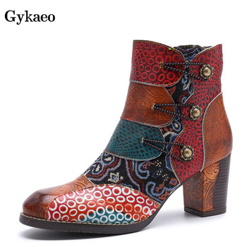 Gykaeo 2019 Winter Fashion Handmade Genuine Leather Women Boots Woman Cowhide Print Ankle Boots Ladies High Heels Warm Shoes