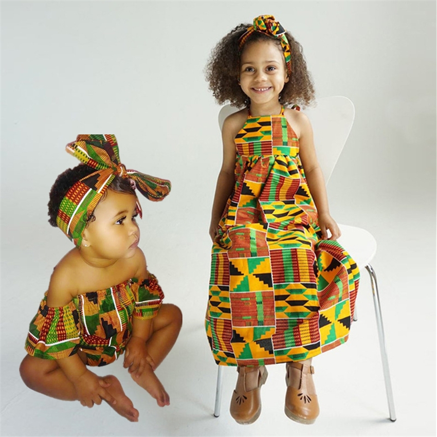 Girls African Clothing Children Bazin Riche Dashiki Fashion Cute Dresses Striped Printed Rompers For Baby With Headband