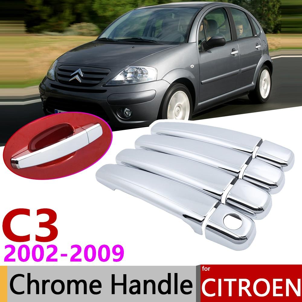 For Citroen C3 MK1 2002~2009 Chrome Exterior Door Handle Cover Car Accessories Stickers Trim Set 2003 2004 2005 2006 2007 2008