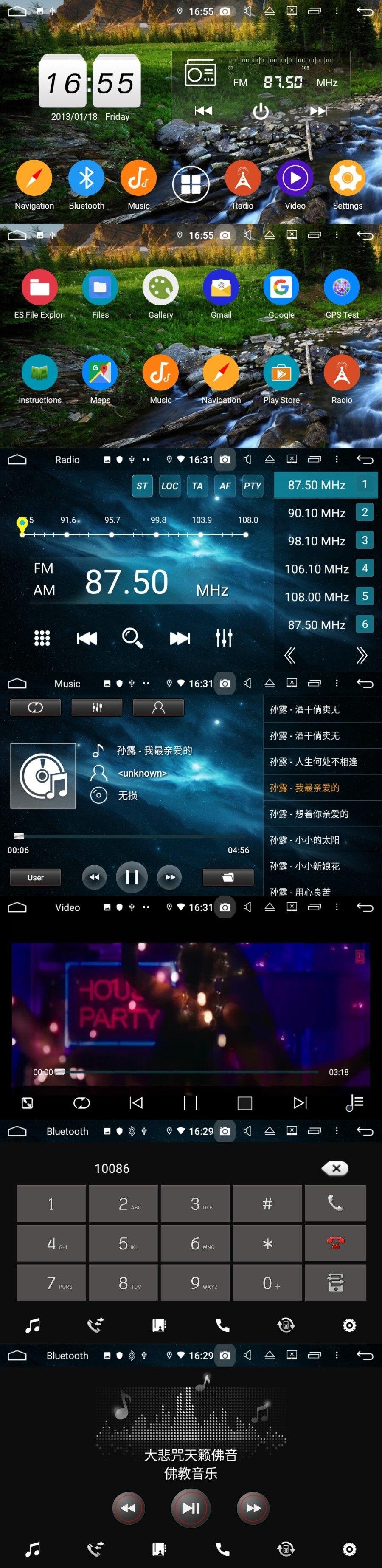 Navegação gps do tela táctil do rádio
