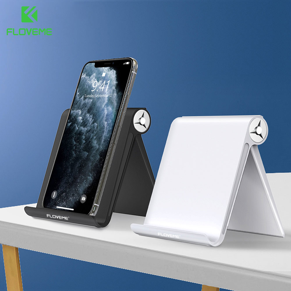 FLOVEME Phone Holder Stand For IPhone 11 Xr 8 7 Samsung S10 Adjustable Aluminium Desktop Holder Mobile Phone Tablet Stand Holder