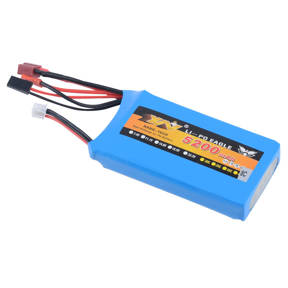 Rc Liop Battery 7.4V <font><b>5200mAh</b></font> 8C <font><b>2S</b></font> for 1/5 RC LOSI 5IVE-T Car Rc Car Parts (99mm*54mm*22mm) image