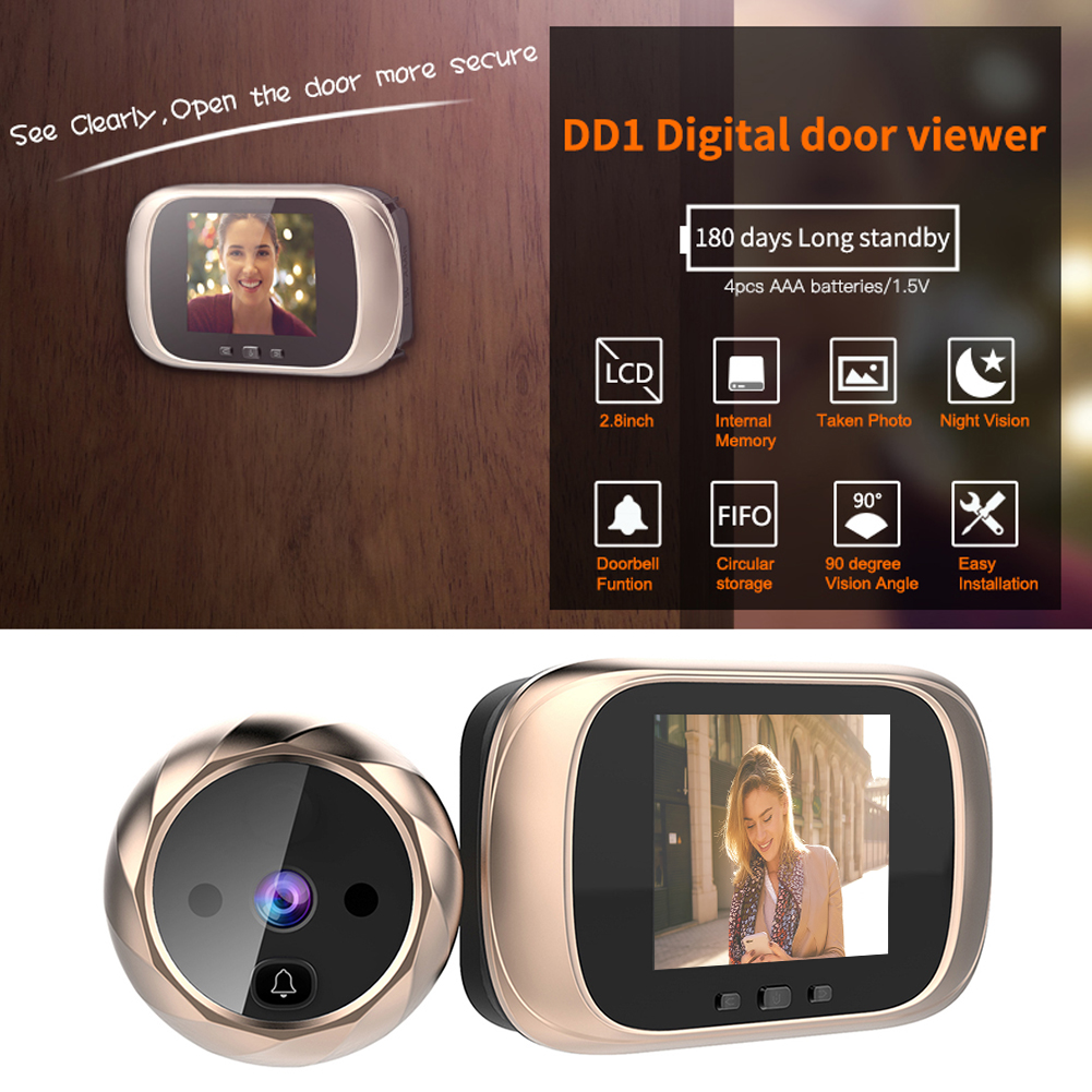 2 8 inch LCD Digital Doorbell 90 Degree Door Eye Doorbell Smart Electronic Peephole Door Video Camera Viewer Outdoor Door Bell