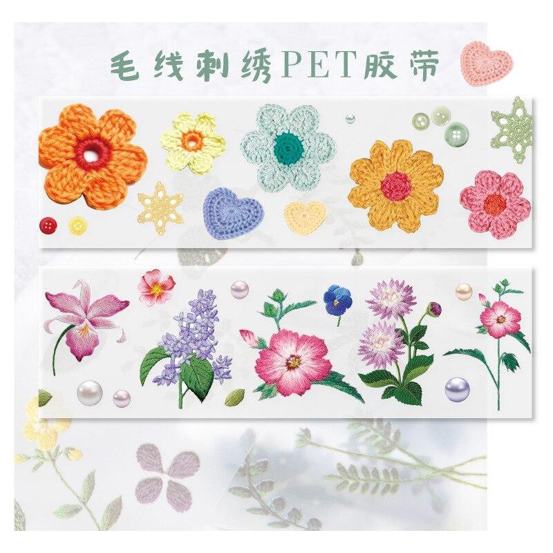 Vintage Wool Embroidery Flower Transparent Bullet Journal PET Washi Tape Adhesive Tape Scrapbooking Sticker Label Masking Tape