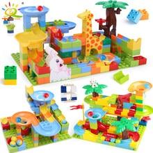 Huiqibao 52-182 pçs corrida de mármore executar diy labirinto bolas blocos de construção funil slide tamanho grande tijolos brinquedos educativos do bebê crianças