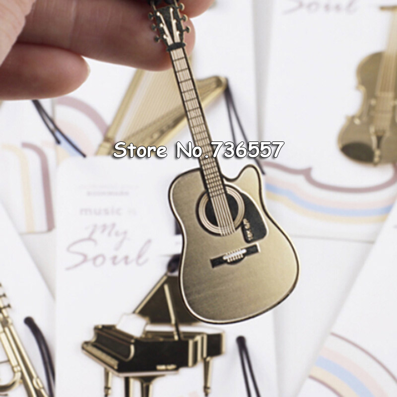 1Piece Cute Golden Metal Bookmarks Lovely Piano Guitar Trumpet Designs Book Marks For Kids Gift Novelty Item School Stationery