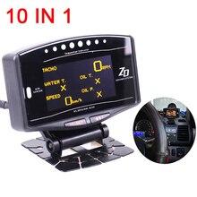 Tachometers Auto Gauge 10 in 1 New Version Meter Digital Tachometer volt speed water temp oil press boost Kit tacometro rpm цены