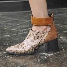 купить Women Ankle Boots Pointed Toe High Heels Pumps Shoes Woman Chaussure Zapatos Mujer Gladiator Luxury PU Leather Booties WXZ229 по цене 1106.58 рублей