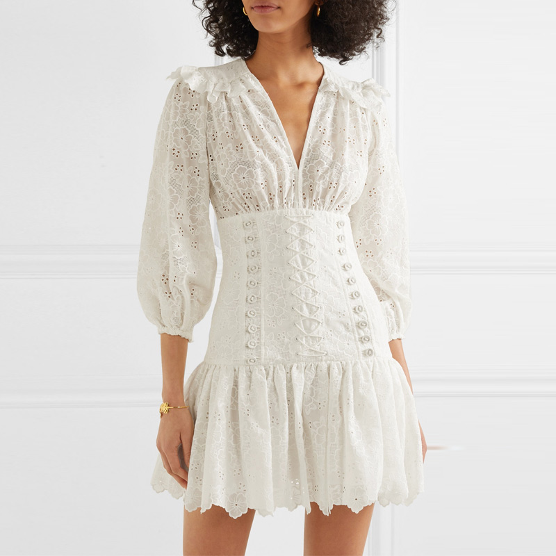 Brand 2019 Women White Dress Autumn Embroidery Cross Lace u Bandage V neck Long Sleeve Ruffles Mini Dress Vacation Holiday Dress image