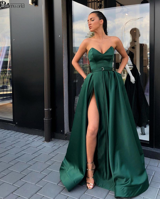 Elegant Sweetheart Party Gown Satin Sexy Prom Dress Emerald Green High Slit Plus Size Prom Dresses 2019 Long Vestido Fiesta