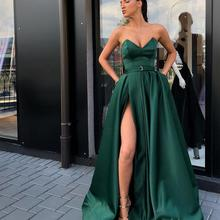Elegant Sweetheart Party Gown Satin Sexy Prom Dress Emerald