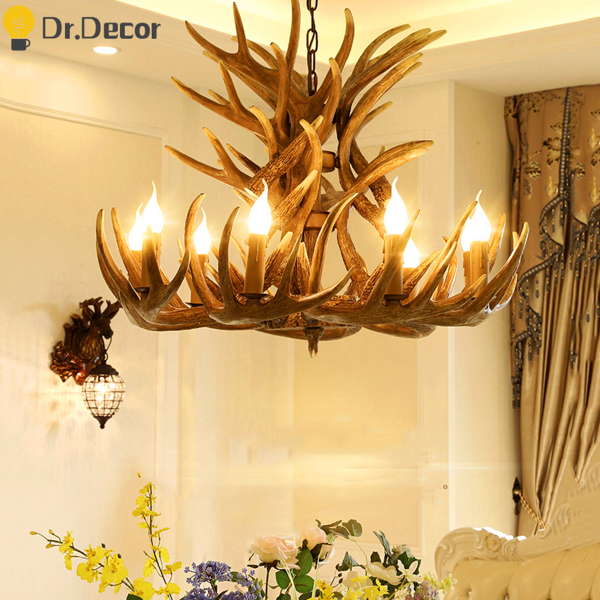 Modern Antler E14 Pendant Lights Lighting Vintage Home Decor Kitchen Hanglamp Industrial Deer Horn Bedroom Living Room Fixtures