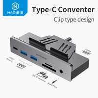 Hagibis type-c Hub USB 3.0 moyeu pince conception aluminium type-c vers HDMI alliage pince-Type SD/TF lecteur de carte Port Audio pour Apple iMac
