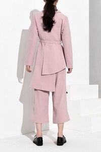 Image 4 - LANMREM 2020 חדש אופנה סדיר V צווארון תחבושת בלייזר + Loose רחב רגל מכנסיים לנשים אביב נשי של 2 חתיכות סט YG62111