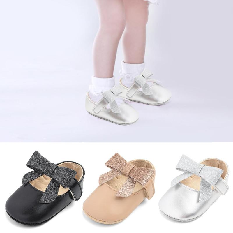 Female Baby Casual Shiny Surface Bow Shoes Super Flexible Artificial PU Point Rubber Sole Baby Toddler Anti-slip Princess Shoes
