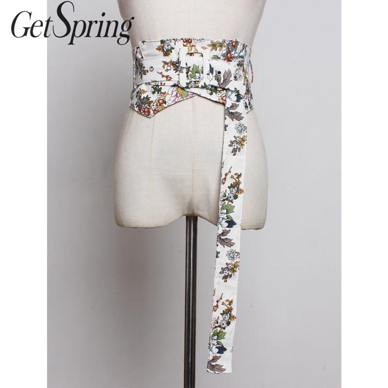 GetSpring Women Wide Belt Fashion Print Wide Belts All Match Wide Bandage Belts Wide Cummerbund Retro Ladies Waistband 2019 New