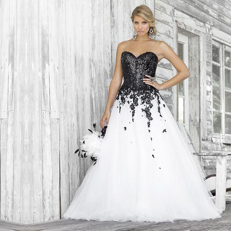 Black And White Wedding Dresses 2020 Sweetheart Lace Applique Sequined Bridal Gowns Custom Made Size Wedding Gowns