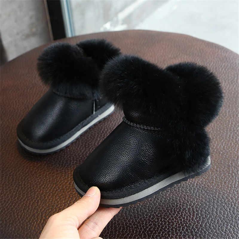 DIMI 2019 kış sıcak çocuklar bebek ayakkabıları erkek kız Toddler çizmeler PU deri su geçirmez kaymaz peluş bebek kar botları