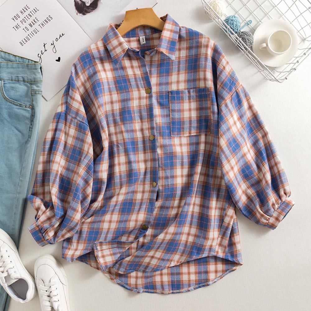 Bureau Blouse femmes 2020 Vintage chemise à carreaux Style coréen à manches longues col rabattu coton mode haut décontracté surdimensionné en vrac