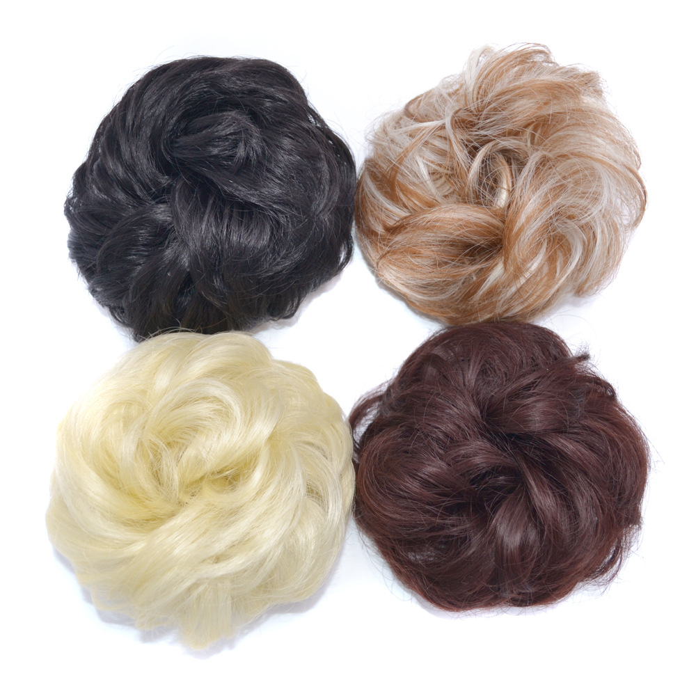 LIHUI 13 Colors Synthetic Chignon Bun For Ponytail Round Messy Wig Bun Curly Hair Elastic Rope Bun Simple And Practical For Girl