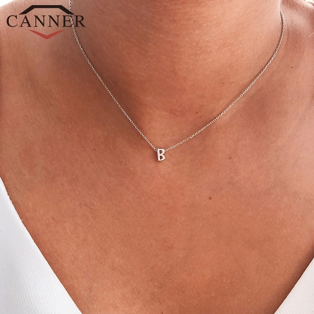 CANNER Real 925 Sterling Silver 26 Letter Round Choker Necklace For Women European and American Minimalist Fine Jewelry 2
