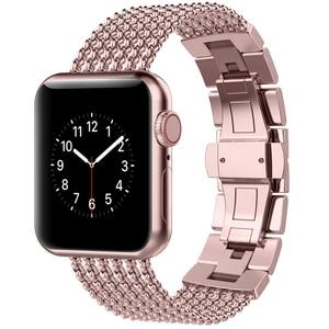 Image 2 - Toyouths עבור אפל להקת שעון iWatch נשים רשת לולאה נירוסטה החלפת מתכת יופי רצועת 38/40mm 42 /44mm