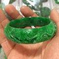 100% real jade natural handmad 7a esmeralda mão esculpida padrão flor pulseira jade pulseira verde jade pulseiras feminino esmeralda