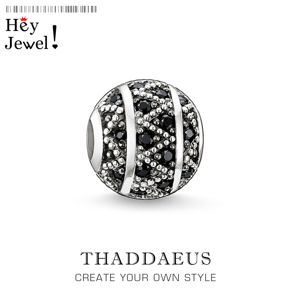 Beads Black Zig Zag Micro Pave Ball Charm Bead For Women DIY Fine Jewelry Making  Silver Sterling Thomas Fashion Bead